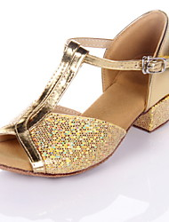 "cheap -Women's Kids' Latin Ballroom Leatherette Sandal Low Heel Silver Gold 1"" - 1 3/4"" Non Customizable"