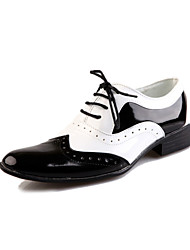 Men's Shoes Leather Spring Summer Fall Winter Comfort Bullock shoes Oxfords Lace-up For Party & Evening Black and White