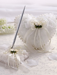 cheap -Satin And Tulle Wedding Pen Set With Imitation Pearls And Flowers