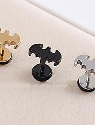 lureme®316l orecchini singolo prigioniera titanio acciaio chirurgico galvanica pipistrello (colore casuale)
