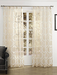 cheap -Rod Pocket Grommet Top Tab Top Double Pleat Two Panels Curtain Country, Jacquard Bedroom Polyester Material Sheer Curtains Shades Home