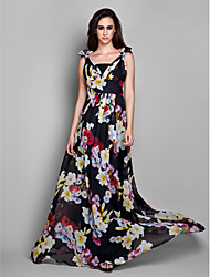 cheap -Sheath / Column V Neck Floor Length Chiffon Formal Evening Dress with Bow(s) / Side Draping by TS Couture®