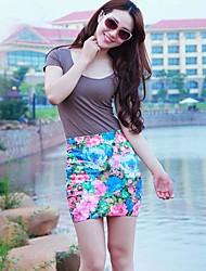 Kvinder Short Pencil Skirt Flower Print Mini Nederdel