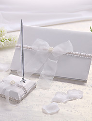 cheap -Guest Book Pen Set Chiffon Classic ThemeWithBow Faux Pearl Guest Book Pen Set