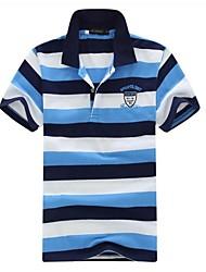 economico -Uomo Turn-giù il collare Casual Short Sleeve Striped Polo T-Shirt