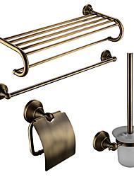 Недорогие -Набор аксессуаров для ванной Современный Латунь 4шт - Гостиничная ванна Держатели для туалетной щетки / распорка / Держатели для
