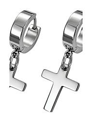 Weinlese-Kreuz Silber Titan Stahl Ohrringe (1 PC)