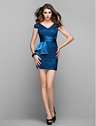 cheap -Sheath / Column V Neck Short / Mini Lace Cocktail Party / Prom Dress with Side Draping by TS Couture®