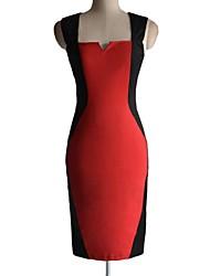 Dame Stitching V Neck kontrast farve Bodycon Pencil Midi Dress