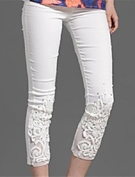 cheap -Women's Maternity Cotton Skinny Jeans Pants - Lace Jacquard