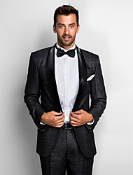 cheap -Black Polyester Standard Fit Two-Piece Tuxedo