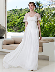 A-Line V-neck Sweep / Brush Train Tulle Georgette Wedding Dress with Beading Appliques by LAN TING BRIDE®