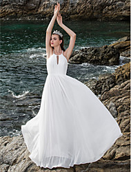 cheap -A-Line Halter Neck Floor Length Chiffon Made-To-Measure Wedding Dresses with Draping by LAN TING BRIDE® / Open Back