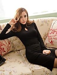 billige -Dame Bodycon Kjole - Ensfarvet, Udhulet Asymmetrisk