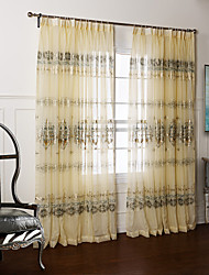 (Two Panels) Country Fancy Arabesque Jacquard Sheer Curtain