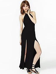 Slim RICHCOCO Mulheres Halter mangas Backless Side Slits vestido de qualidade superior