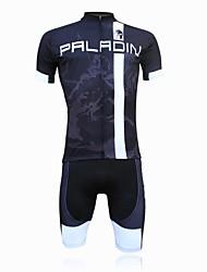 abordables -ILPALADINO Hombre Manga Corta Maillot de Ciclismo con Shorts - Negro Bicicleta Shorts/Malla corta Pantalones Cortos Acolchados