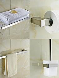 abordables -Juego de 4 piezas colección de baño, de acero inoxidable cuadrado contemporánea, accesorios de baño set
