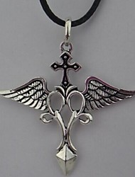 cheap -Vintage Cross (Wing) Black Feather Pendant Necklace() (1 Pc)