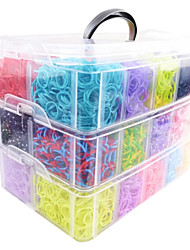 cheap -Rainbow Colorful Loom Big Size 3 Layers Multicolor DIY Rubber Band (12000 Pcs) And Connector