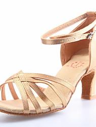 """cheap -Women's Latin Ballroom Satin Sandal Buckle Chunky Heel Champagne 2"""" - 2 3/4"""" Non Customizable"""