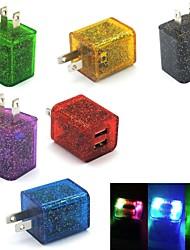 блеск мигает 2-портовый свет Dual USB Главная Путешествия стены зарядки зарядное устройство для Samsung / Iphone нас