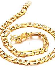 baratos -Homens Colares em Corrente - Chapeado Dourado, Banhado a Ouro 18K Dourado