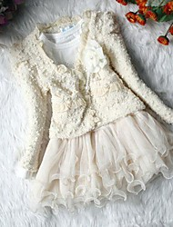 cheap -Girl's Fashion Flower Coats+ Dresses Clothing Sets Lovely Princess Clothing Set