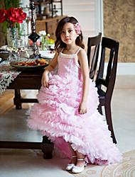 economico -Vestito asimmetrico da ragazza di fiore a-line - cinghie senza maniche organza con increspature
