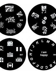 baratos -1pcs nail art carimbo de carimbar imagem modelo de placa b série no.65-68 (padrão assorted)