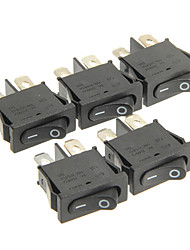 cheap -Hongju Diy T85 2-Pin Rocker Boat Switch - Black Color (5 Pcs)