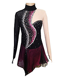 Figure Skating Dress Women's Girls' Ice Skating Dress Black and Purple Spandex Solid Fashion Performance Handmade Long Sleeves Skating