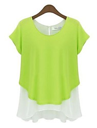 Women's Casual/Daily Simple Spring / Fall T-shirt,Patchwork Round Neck Short Sleeve Blue / Gray / Green Cotton Thin