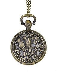 Groom Hollow Engraving Lovebirds Vintage Pocket Watch  Bronze Necklace With Gift Box