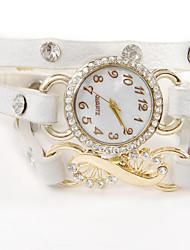 wagen u Frauen Vintage-Leder Armband Kristall Strass Uhren