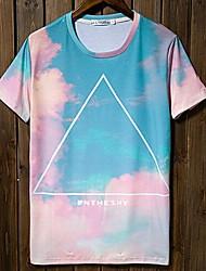 Herren Rund Lässige Short Sleeve Farbdruck-T-Shirts