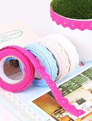 Random Colors DIY Cute Colorful Fabric Flower Cloth Lace Tape For Decor Photo Albums