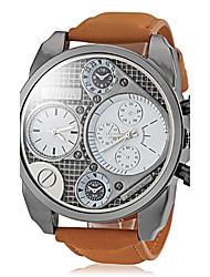 Oulm Pánské Vojenské hodinky Náramkové hodinky Křemenný Hodinky s dvojitým časem Kůže Kapela Cool Khaki Bílá Černá