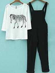 Tee-shirt Costumes Femme,Couleur Pleine Vintage Eté Manches Courtes Coton Fin