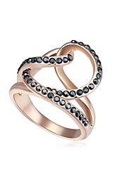 cheap -Women's Crystal Statement Ring Ring - Rose Gold Plated, Austria Crystal Love Statement, Party, Work Black / Silver / Rainbow For Daily