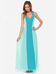 cheap -QUEEN™Women's Sleeveless Strapless Maxi Dresses Beach Dresses Graduation Dresses A-line Princess V-Neck Chiffon