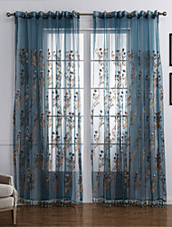 baratos -Sheer Curtains Shades Quarto Contemporâneo Poliéster Bordado