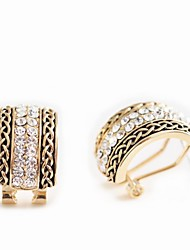 Korean Fashion Studded With Drill Geometric Shape Gold Plating Earrings