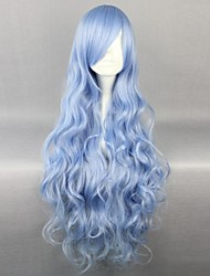 Cosplay Wigs Date A Live Yoshino Blue Long / Curly Anime Cosplay Wigs 90 CM Heat Resistant Fiber Female
