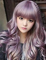Недорогие -Парики из искусственных волос Волнистый Стиль С чёлкой Без шапочки-основы Парик Фиолетовый Лиловый Искусственные волосы 20 дюймовый Жен. Фиолетовый Парик Длинные Парик из натуральных волос