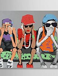 Недорогие -ручной росписью маслом людей три классные парни, сидя на диване с натянутой кадра