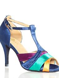 "Women's Latin Silk Sandal Performance Splicing Stiletto Heel Green/Yellow 3"" - 3 3/4"" Customizable"