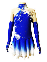 Figure Skating Dress Women's Girls' Ice Skating Dress Blue Spandex Rhinestone Appliques Performance Skating Wear Handmade Floral Fashion