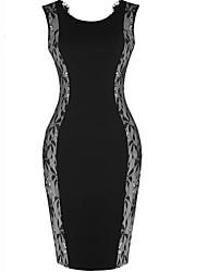 billige -kniplinger sheer splejsning sleevless kjole