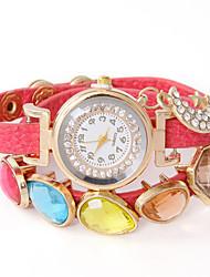 Недорогие -осмелится у панк кожаный diamonded драгоценный камень стильный цепи часы